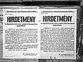 Hírdetmény. Rögtönbíráskodás kiterjesztésének elrendelése 1944-04-04 Fortepan 72654.jpg