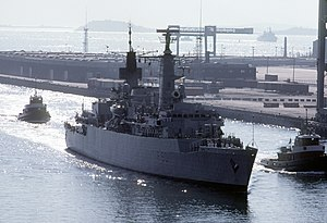HMS Brilliant (F90) enters a port in September 1985 (6421615).jpg
