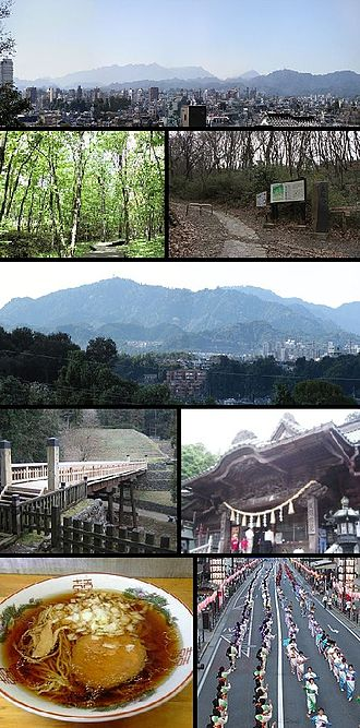 Hachiōji, Tokyo - View of top left, Downtown Hachioji, Komiya Park, Naganuma Park, Mount Takao, stone fence and bridge in Hachioji Castle site, Yakuoin in Mount Takao, Hachioji Ramen, Hachioji Traditional Festival on August