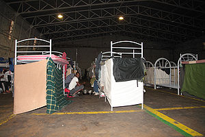 RAF Hal Far - The hangar being used as a refugee camp.