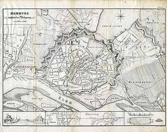 Hamburg Wallring - Map of Hamburg and its defenses in 1813