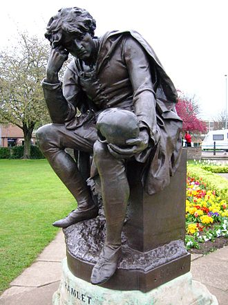Hamlet in popular culture - Prince Hamlet holding the skull of Yorick. 19th century statue by Ronald Gower in Stratford-upon-Avon