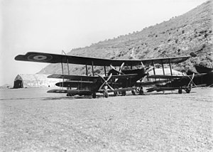 Third Transjordan attack - Handley–Page 0/400 aircraft and Bristol Fighter aircraft at Australian Flying Corps aerodrome was frequently piloted by Captain Ross Macpherson Smith