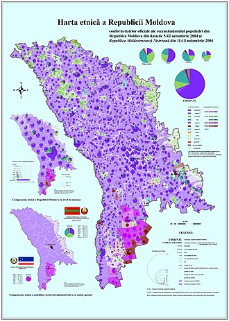 Demographics of Moldova - Ethnic map of Moldova (2004 data)