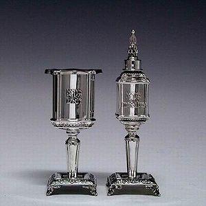 Jewish ceremonial art - Havdalah candle holder and spice box