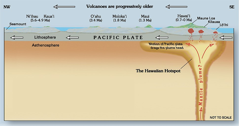 A diagram illustrates the hotspot area of the crust in cross-section and states that the motion of the overtopping Pacific Plate in the lithosphere expands the plume head in the asthenosphere by dragging it.
