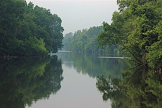 Great Alamance Creek - Convergence of Great Alamance Creek and the Haw River in Swepsonville, North Carolina.