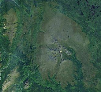 Heart Peaks - A satellite photo of Heart Peaks (upper-left corner) and nearby Level Mountain (middle). This image clearly shows the large contrast in size between the two volcanoes.