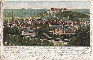 Hellenstein Castle - 1902, Picture of Heidenheim with Hellenstein on the hill in the background.