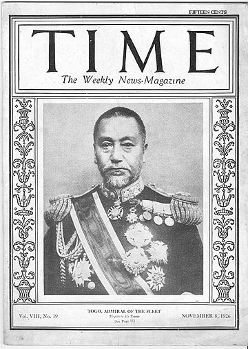 Admiral Heihachiro Togo on Time magazine cover, 1926. Heihachiro Togo-TIME-1926.jpg