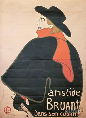 Aristide Bruant - Aristide Bruant in his Cabaret painting by Toulouse-Lautrec