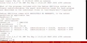 Hercules (emulator) - Debian GNU/Linux running on Hercules