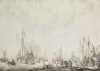 The prince's yacht and the state yacht, presumably awaiting the arrival of Charles II of England near Moersdijk, 1660
