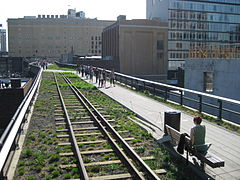 Railway tracks and the walking path cross 20th Street