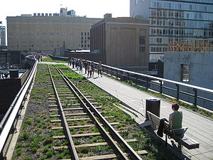 Rail freight transportation in New York City and Long Island - High Line park at 20th street in Manhattan.