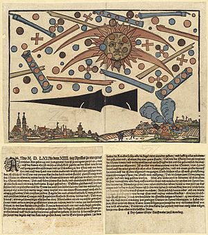 Flying saucer - News notice printed in Nuremberg, describing 4 April 1561 Nuremberg mass sighting. Discs and spheres were said to emerge from large cylinders. From Wickiana collection in Zurich.