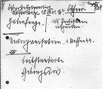 Final Solution - Image: Himmler note 18 december 1941
