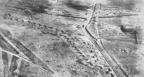 The remains of Hindenburg Line at Bullecourt (as seen after the war, in 1920). Hindenberg line bullecourt.jpg