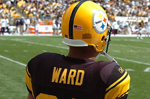 Logos and uniforms of the Pittsburgh Steelers - Hines Ward wearing the Steelers 75th anniversary uniform in 2007.