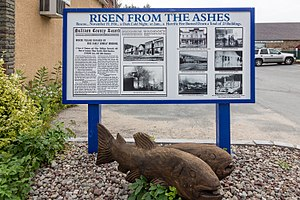Roscoe, New York - Historical marker tells of the 1916 fire.