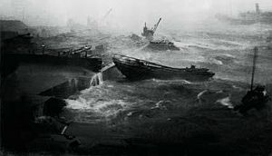 1906 Hong Kong typhoon - Rough seas in the Hong Kong harbor