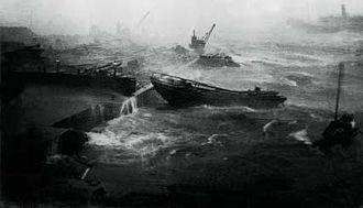 1906 Hong Kong typhoon - Rough seas in the Hong Kong harbor