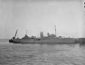 HMCS Eyebright - HMCS Eyebright tied to dock wall.