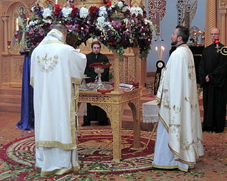 Holy Saturday - Divine Liturgy of Holy Saturday in a Greek Orthodox church in the United States