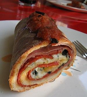 Stromboli (food) - Image: Homemade Stromboli Aug 05