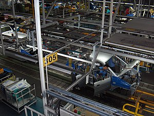Mass production - A modern automobile assembly line