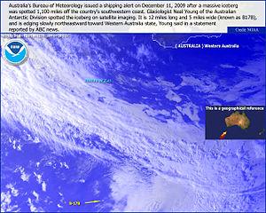 Iceberg B-17B - NOAA satellite image of Iceberg B-17B, December 11, 2009.