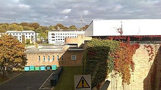 Lancaster Institute for the Contemporary Arts - A view of The County College overlooking the old music building and Great Hall Complex, from the first floor art laboratory in Bowland Annex