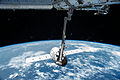 ISS-43 Canadarm2 robotic arm grapples SpaceX Dragon CRS-6.jpg