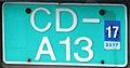 Iceland diplomatic license plate CD-A13 back.jpg