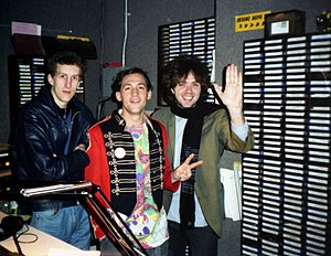 KITS - The band Icicle Works visits with DJ Steve Masters in the Live 105 radio studio in San Francisco, California - 1987
