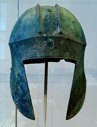 "Illyrian type helmet - Greek ""Illyrian type"" bronze helmet from Argolis (6th–5th centuries BC)."