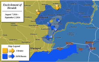 Battle of Ilovaisk - Map of the encirclement