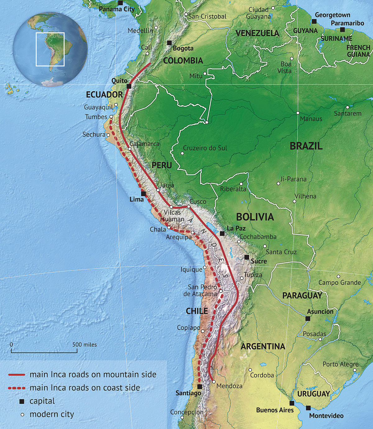 Inca Road System Wikipedia - Road map of peru