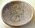 Incantation bowl, from Babylon, Iraq. Aramaic inscription with a human figure, 4th to 7th century CE. Pergamon Museum, Berlin.jpg