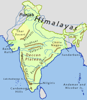 Mahāyāna Mahāparinirvāṇa Sūtra - Map of India including the Deccan Plateau and the Vindhya Range