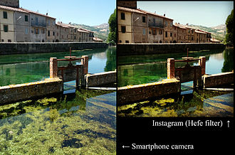 Instagram - An original photograph (left) is automatically cropped to a square by Instagram, and has a filter added at the selection of the user (right).