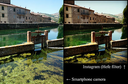 An original photograph (left) is automatically cropped to a square by Instagram, and has a filter added at the selection of the user (right). Instagram versione (santa fiora, peschiera).jpg