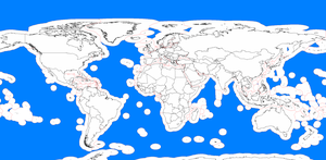 Fish migration - The high seas, highlighted in blue, are the seas which are outside the 200 mile exclusive economic zones