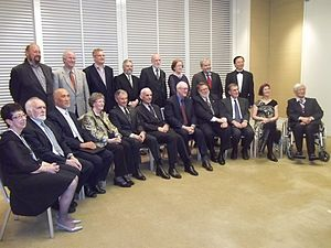 Leonard Kleinrock - 2012 Internet Hall of Fame inductees, including Leonard Kleinrock (seated, fifth from the left)