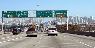 Interstate 80 in California - The western terminus of Interstate 80 in San Francisco, viewed from northbound US 101. Legally, however, the actual Interstate designation may actually begin 1.20 mi (1.93 km) beyond this location.