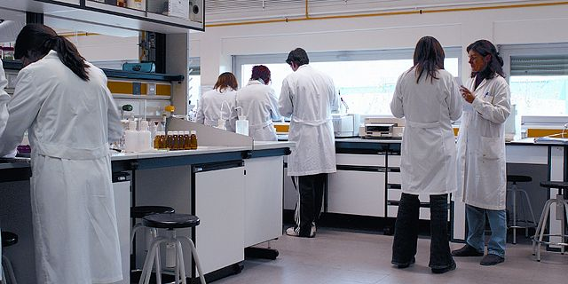 Scientists in a laboratory of the University of La Rioja