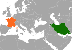 Map indicating locations of Iran and France