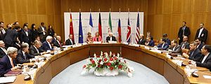 Negotiations leading to the Joint Comprehensive Plan of Action - The ministers of foreign affairs of China, France, Germany, the United Kingdom, the United States and the European Union debate with Iran nuclear negotiating team, 14 July 2015