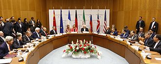 Negotiations leading to the Joint Comprehensive Plan of Action - The ministers of foreign affairs of China, France, Germany, Russia, the United Kingdom, the United States and the European Union debate with Iran nuclear negotiating team, 14 July 2015