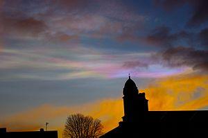 Cloud iridescence - Iridescent cloud at sunset over Aberdeen, Scotland